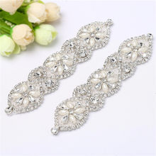 Rhinestone Applique Two Pieces Pearl Beaded Applique Sparkly Rhinestone  Trim Applique for Wedding Dress Decoration 6f2a9119be12