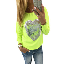 2017 Spring Streetwear Sweatshirts Women Lovely Sequined Heart Tracksuits Pullovers Casual Long Sleeve Tunic Jumpers Undershirt(China)