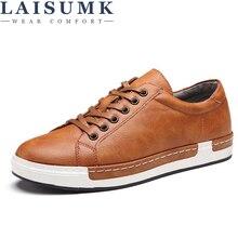 2018 LAISUMK Men Shoes New Arrival Fashion Lace-Up Flats Shoes Non-slip Cozy Genuine Leather Casual Shoes