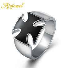 Ajojewel Size 5.5-12 Simple Enamel Classic Black Cross Ring For Men Fashion Brand Vintage Men Jewelry High Quality