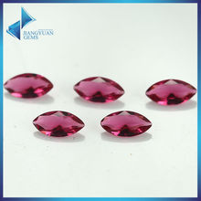 100pcs 2x4-8x16mm Rose Red Color Marquise Shape Machine Cut Loose Glass Gems stone Beads Synthetic Gems(China)