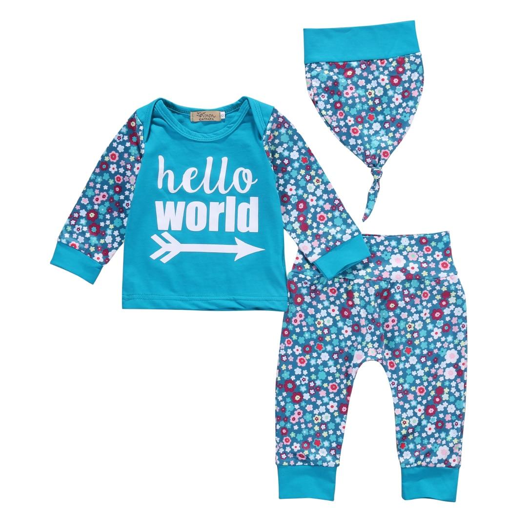 Newborn Toddler Kids Baby Girls Outfit Clothes T-shirt Hat Tops + Pants 3PCS Set<br><br>Aliexpress