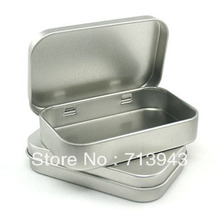 80x50x15mm rectangle tin box with hinge/mint tin box/candy box/food tin can(China)