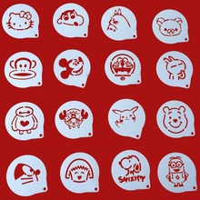 16Pcs/Lots Cartoon Figure Cappuccino Coffee Decorating Stencils Cookie Latte Stencil Cake Mold Decor With Sachet Gift