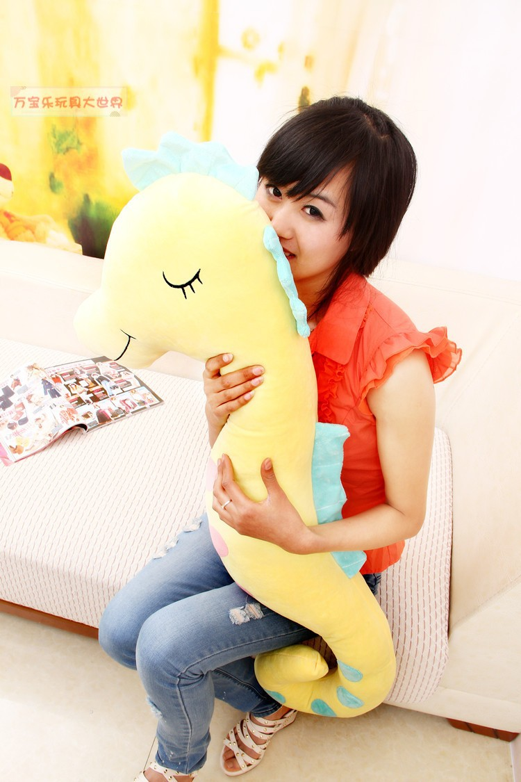 lovely plush sea horse toy the cartoon sea horse soft big stuffed toy about 140cm yellow<br><br>Aliexpress