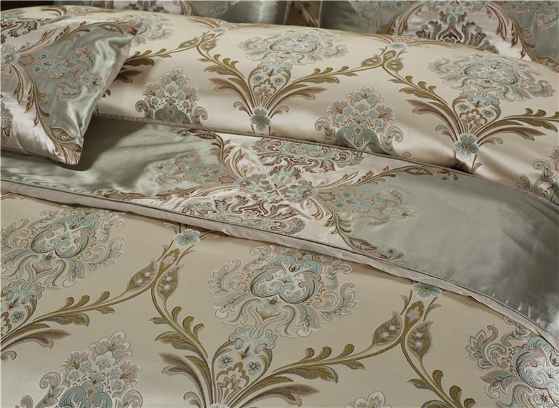 Luxury Bedding Set, Silk Satin Jacquard Bedding Set, Queen, King, Duvet Cover,Bed Linen Flat Sheet Set 17
