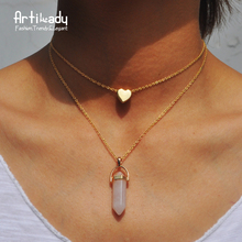 Artilady natural pink stone choker necklace fashion heart gold color 2 layers pendant necklace for women jewelry(China)