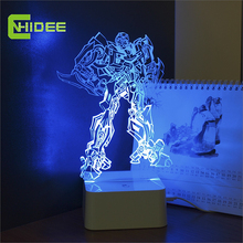 CNHIDEE Creative Designs USB Novelty Acrylic Lamp 3D Led Night lights Robot Kitty Bear Mushroom Besides Lampara for Children