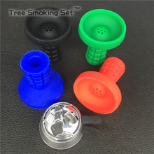 1pc big mutihole Silicone lattice Silicone Bowl And 1pc Charcoal Holder Shisha Hookah Hookah Bright Silver Metal Carbon Bowl