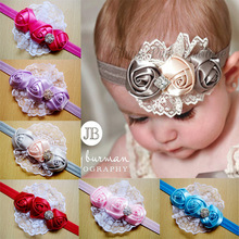 Best Selling Soft Satin Rose Flower With Diamond Handmade Headband for girls Photography prop 10pcs/lot Freeshipping fd03(China)