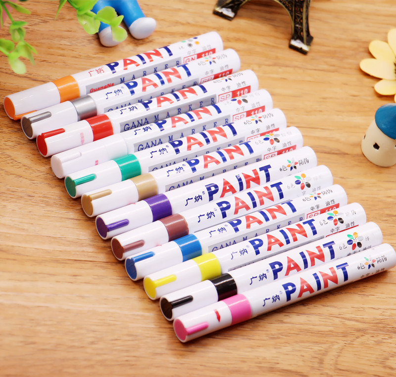 Permanent Paint Marker Stationery Tread Car-Tyre-Tire Metal Oily CD Waterproof 12-Colors title=