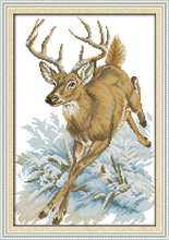 Running deer cross stitch kit 14ct 11ct pre stamped canvas embroidery DIY handmade needlework