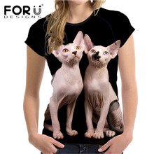 FORUDESIGNS Stylish Sphynx T Shirt for Women 3D Canadian Hairless Printing Ladies Top Tees Elastic Short Sleeve Tees Asian Size(China)