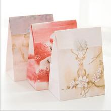 3pcs/lot Hand-painted fawn kraft paper bag/ Birthday gift wedding gift bag/Festival gift bag/ /with Sealing paste sticker JJ0078(China)
