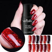 Luxury Finger 15ML Bling Platinum Sequins UV Gel Red Glitter Nails Polish Base Top Coat LED UV Professional Manicure Varnish(China)
