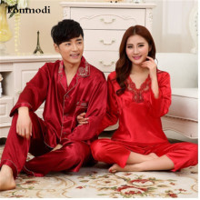 Women's Pajamas Spring And Summer Love Sleepwear Ladies Silk Pyjamas Men Wedding Couple Women's Lounge Pajama Sets Plus Size XXL