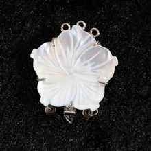 Natural White abalone shell pearl flower 28x28mm 3 rows necklace pendant clasp for women jewelry B845(China)