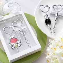 Love Heart Corkscrew Wine Bottle Opener + Wine Stopper Wedding Gift Favors Bottle Opener Set Wedding Decor Favors Wine Stopper