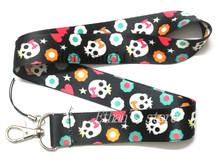 Girls Skull Head Sport with Star Heart Painting Key Lanyard Badge Holders Phone Neck Straps