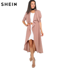 SHEIN Autumn Womens New Fashion Coffee Lapel Long Sleeve Trench Coat Open Front Tie Waist Casual Long Outerwear Windbreaker(China)