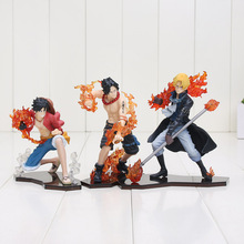 3pcs/set One piece Luffy Ace Sabo figure set PVC action figure toys with base Christmas toy 9-14cm