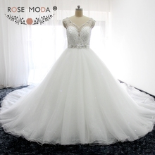 Buy Rose Moda Gorgeous Sheer V Neck Heavily Crystal Puffy Princess Wedding Ball Gown 1M Royal Train Illusion Back Wedding Dress for $431.48 in AliExpress store