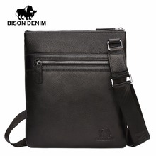 BISON DENIM Men's Shoulder Bag Genuine Leather Satchel iPad Tablet Messenger Bag black thin soft casual male bag N2424-1B(China)