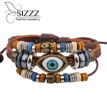 Retro rope leather men bracelets leather hand woven bracelet  braided bracelet male female bracelets & bangles fashion Jewelry
