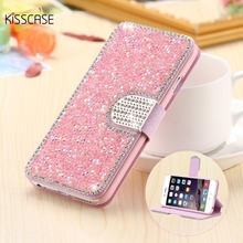 Buy KISSCASE Glitter Bling Crystal Diamond Leather Wallet Case iPhone 7 6s 6 Plus Fashion Luxury Card Slots Cover iPhone 7 6 for $6.99 in AliExpress store