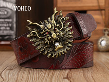 Buy VOHIO 2017 Men high-grade belt leading carving Pearl dragon body 100% genuine leather mens belts luxury gold silver pearl L for $41.65 in AliExpress store