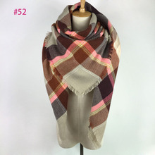 Hot!!! More than 117 colors Za Fashion new color Spring Autumn Winter women plaid wrap blanket scarf shawl pink
