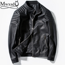 Mwxsd brand men Leather Jackets mens slim fit Motorcycle zipper PU leather jacket male jaqueta de couro masculino high quality