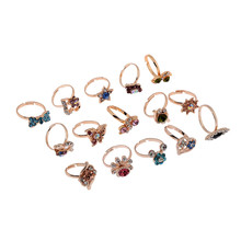 20PC Wholesale Mixed Lots Jewelry Crystal Stainless Steel Women's Rings For Wamen Gift