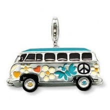 Thomas Style Big Hippie Peace VW Bus Charms with Lobster Clasp Fit Bags Bracelets, TS Jewelry In Silver Jewellery for Women Men