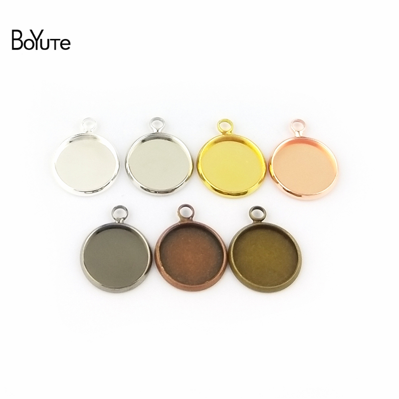 BoYuTe 50Pcs 6 Colors Plated Round 10MM 12MM 14MM 16MM 18MM 20MM 25MM Cameo Cabochon Base Diy Blank Tray Pendant Base (6)