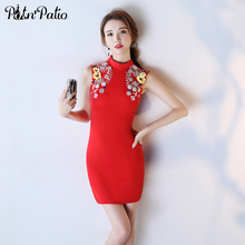 PotN'Patio Vintage High Neck Handmade Pearl Flower Short Red Cocktail Dresses 2017 New Arrival