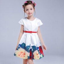 Summer Girls Dress 2017 Embroidery Short Sleeve Lovely Princess Party Wedding Dress Children Big Girls Kids Clothing
