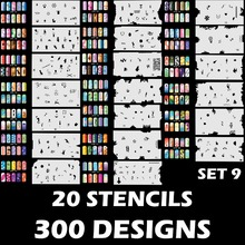 Custom Body Art Airbrush Nail Art Stencil Set 9 with 20 Stencil Template Design Sheets (300 Designs)(China)