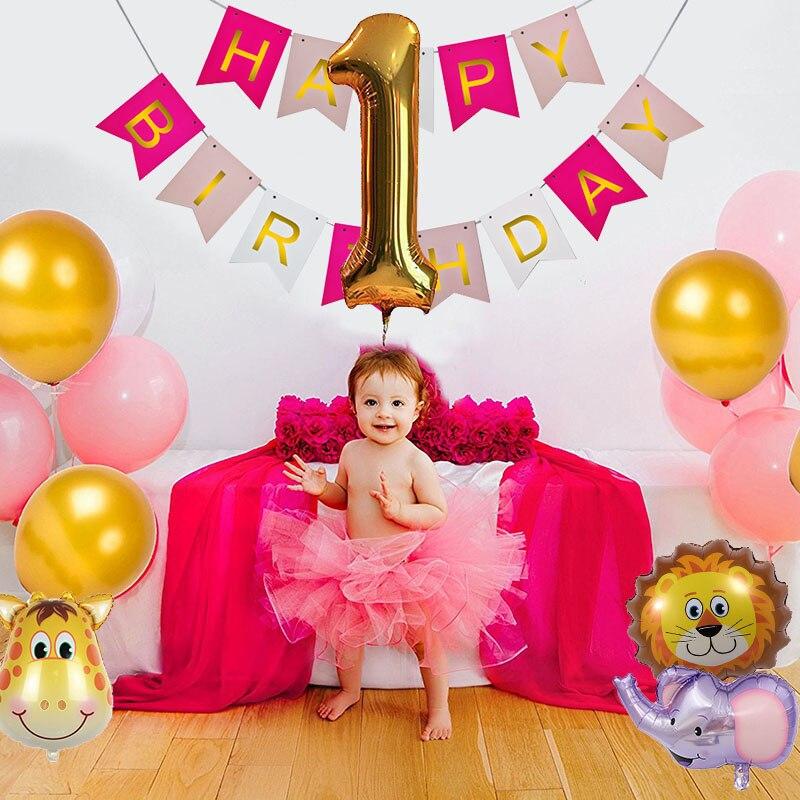 HAPPY BIRTHDAY Banner Pink Gold Paper Garland Stars Balloons DIY Crafts for Baby Boy Girl Birthday Christening Party Decoration