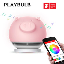 PLAYBULB Piggy Night Lights for Kids, Bluetooth Speakers Smart LED Light Wireless Charge Tap to Change Color Dimmable Floor Lamp(China)