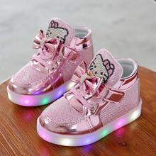 Children Shoes New Spring Hello Kitty Rhinestone Led Shoes Girls Princess Cute Shoes With Light EU 21-30(China)