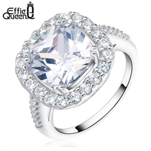Effie Queen Wedding Engagement Rings for Women Jewelry Rings Luxury Cushion Cut AAA Zirconia Ring Accessories Bijou DR96