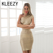 Top Quality  Bandage Knitted Dress Women Celebrity One Shoulder Gilding Elegant Bandage Evening Party Club Dress H847