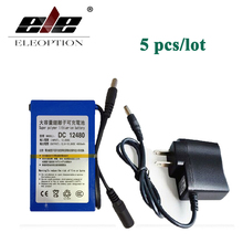 ELEOPTION 5PCS DC12480 High Quality DC 12V 4800mAh Super Rechargeable Li-ion Battery Pack For CCTV Camera Video With Plug(China)