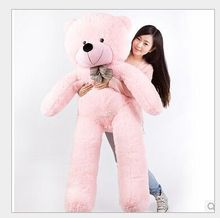 super huge lovely pink plush teddy bear toy cute big eyes bow big stuffed teddy bear doll gift about 180cm(China)