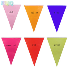 ZLJQ 2.2M Colorful Paper Banners Triangle Flag for Kids Birthday Decor Baby Shower Event Store Opening Pennants Decoration 7D(China)