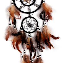 2016 Antique Imitation Fashion Wind Chimes Indian Style Feather Pendant Dual Circle Dream Catcher Home Decor Hanging Decoration(China)