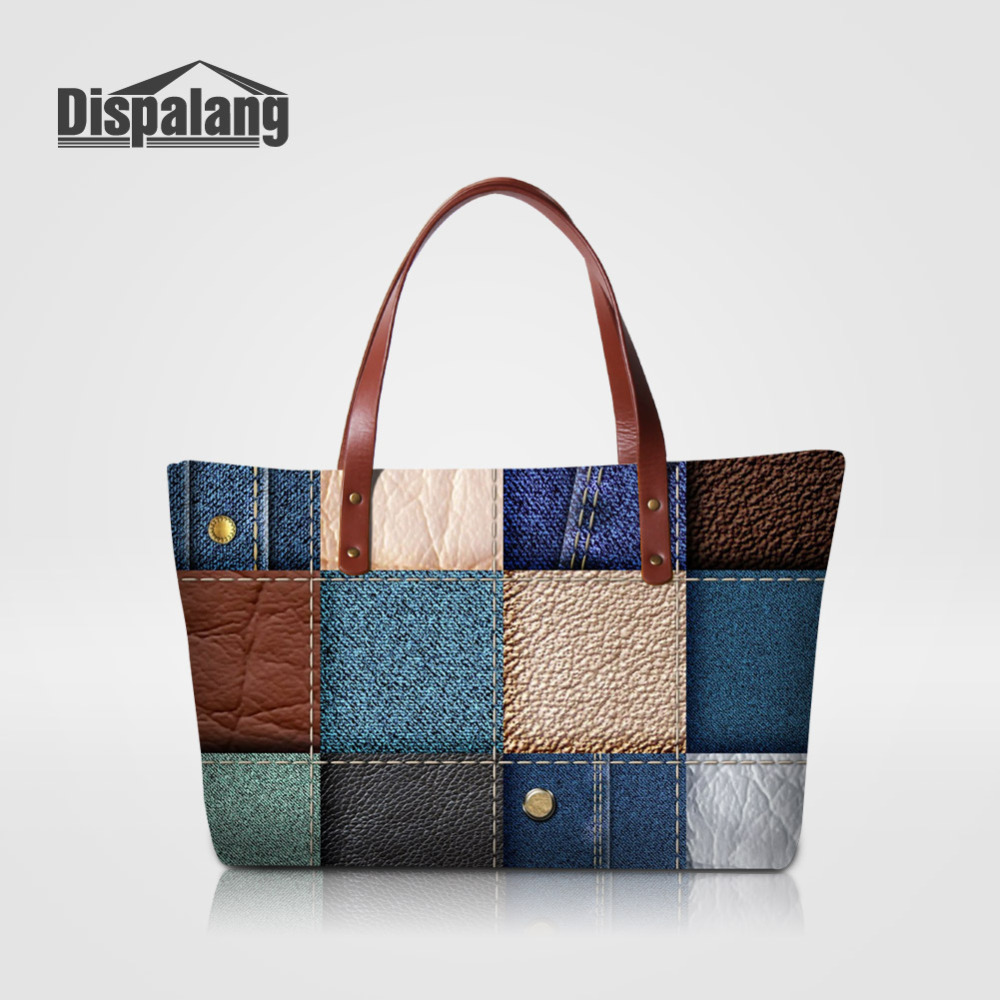 Dispalang Famous Brands Women Handbags Patchwork  Printing Big Tote Bag Female Beach Bags Leather Pattern Handbags Shoulder Bag<br>