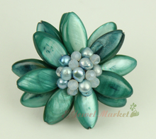 N14032718 green MOP shell FW pearl flower ring