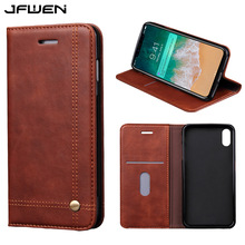 JFWEN For Coque iphone X Case Leather Flip Wallet Magnetic Luxury Cell Phone Cases For iphone X Case Cover With Card Slot holder(China)
